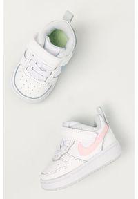 Białe buty sportowe Nike Kids z cholewką, z okrągłym noskiem, Nike Court