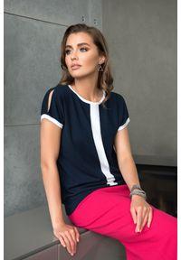Niebieska bluzka VEVA na co dzień, z krótkim rękawem, krótka