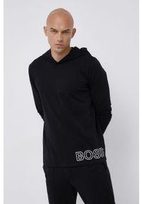 BOSS - Boss - Longsleeve. Typ kołnierza: kaptur. Kolor: czarny. Materiał: bawełna. Długość rękawa: długi rękaw. Wzór: nadruk