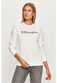 Biała bluza Champion bez kaptura, na co dzień, casualowa, z aplikacjami