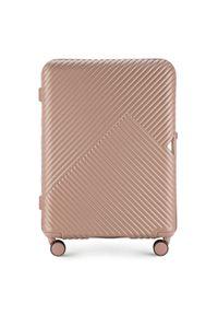 Wittchen - Średnia walizka z polikarbonu w paseczki. Kolor: różowy. Materiał: tworzywo sztuczne, guma. Wzór: geometria