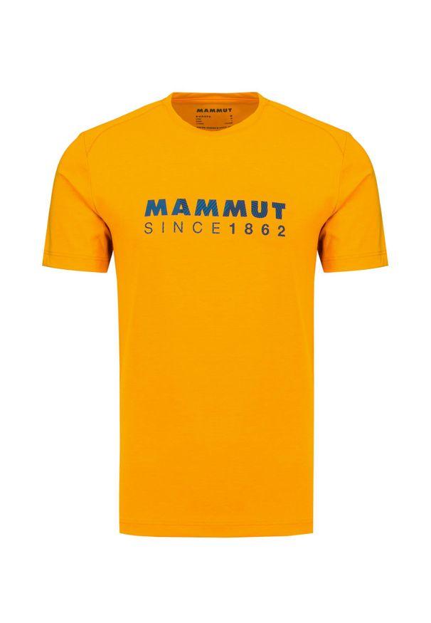 Żółta koszulka sportowa Mammut outdoorowa, w geometryczne wzory