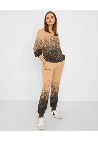 CHAOS BY MARTA BOLIGLOVA - Beżowa bluza bawełniana DIRTY. Typ kołnierza: kaptur. Kolor: beżowy. Materiał: bawełna. Wzór: haft
