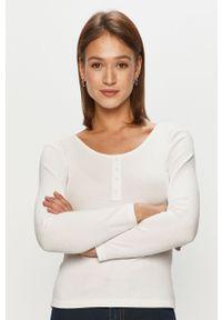 Biała bluzka z długim rękawem only casualowa, na co dzień