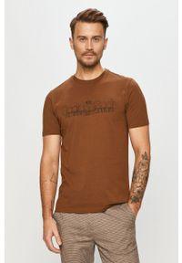 Brązowy t-shirt Scotch & Soda z nadrukiem, casualowy