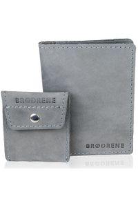 Szary portfel BRODRENE w kolorowe wzory