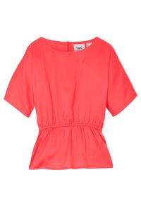 Bluzka dziewczęca z rękawami typu nietoperz bonprix koralowy. Kolor: czerwony. Styl: elegancki