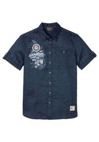 Koszula z lnem, krótki rękaw bonprix ciemnoniebieski z nadrukiem. Kolor: niebieski. Materiał: len. Długość rękawa: krótki rękaw. Długość: krótkie. Wzór: nadruk. Styl: wakacyjny