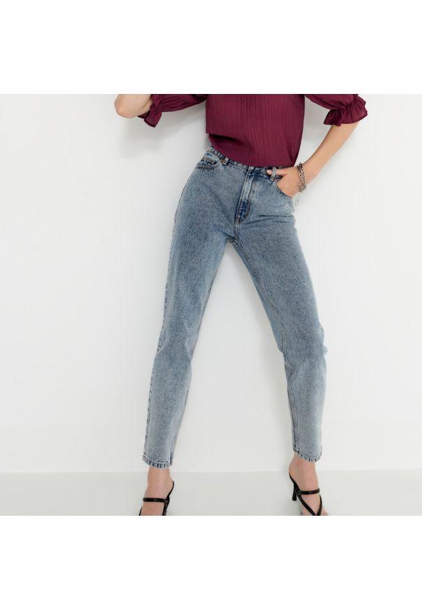 House - Mom jeans z bawełny organicznej - Niebieski. Kolor: niebieski