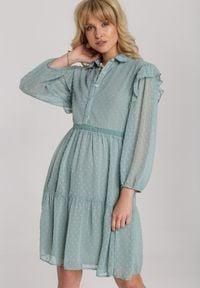 Renee - Miętowa Sukienka Anisea. Kolor: miętowy. Materiał: tkanina. Wzór: aplikacja. Typ sukienki: szmizjerki. Styl: elegancki. Długość: mini