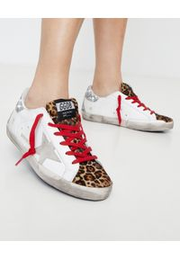 GOLDEN GOOSE - Sneakersy Superstar z brokatową piętą. Kolor: brązowy. Materiał: guma. Wzór: motyw zwierzęcy, nadruk, aplikacja