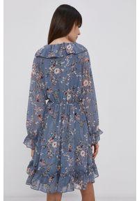 only - Only - Sukienka. Kolor: niebieski. Materiał: tkanina. Długość rękawa: raglanowy rękaw. Typ sukienki: rozkloszowane