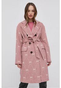 Pinko - Płaszcz z domieszką wełny. Okazja: na co dzień. Kolor: różowy. Materiał: wełna. Styl: klasyczny, casual