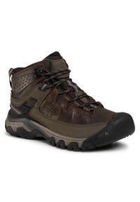 Brązowe buty trekkingowe keen z cholewką, trekkingowe