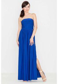 Katrus - Niebieska Zmysłowa Gorsetowa Maxi Sukienka. Typ kołnierza: dekolt gorset. Kolor: niebieski. Materiał: bawełna, elastan. Typ sukienki: gorsetowe. Długość: maxi