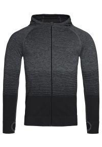 Szary sweter Stedman gładki, z kapturem, długi, sportowy
