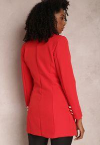 Renee - Czerwona Marynarka Parthopis. Okazja: na spotkanie biznesowe. Kolor: czerwony. Materiał: tkanina. Długość: długie. Styl: wizytowy, klasyczny, biznesowy