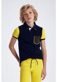 Niebieski t-shirt polo Mayoral polo, na co dzień, krótki, casualowy
