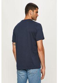 Niebieski t-shirt Vans z okrągłym kołnierzem, z nadrukiem