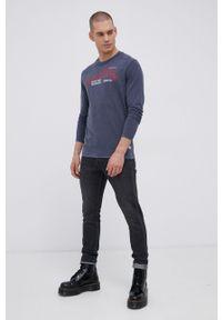 Premium by Jack&Jones - Longsleeve bawełniany. Okazja: na co dzień. Kolor: niebieski. Materiał: bawełna. Długość rękawa: długi rękaw. Wzór: nadruk. Styl: casual