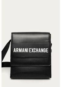 Czarna torba Armani Exchange z nadrukiem, casualowa