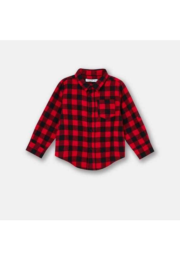 Flanelowa koszula niemowlęca w kratę - Czerwony
