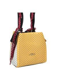 Nobo - Listonoszka ażurowa z wkładem NOBO 1140 żółta. Kolor: żółty. Wzór: ażurowy. Materiał: skórzane