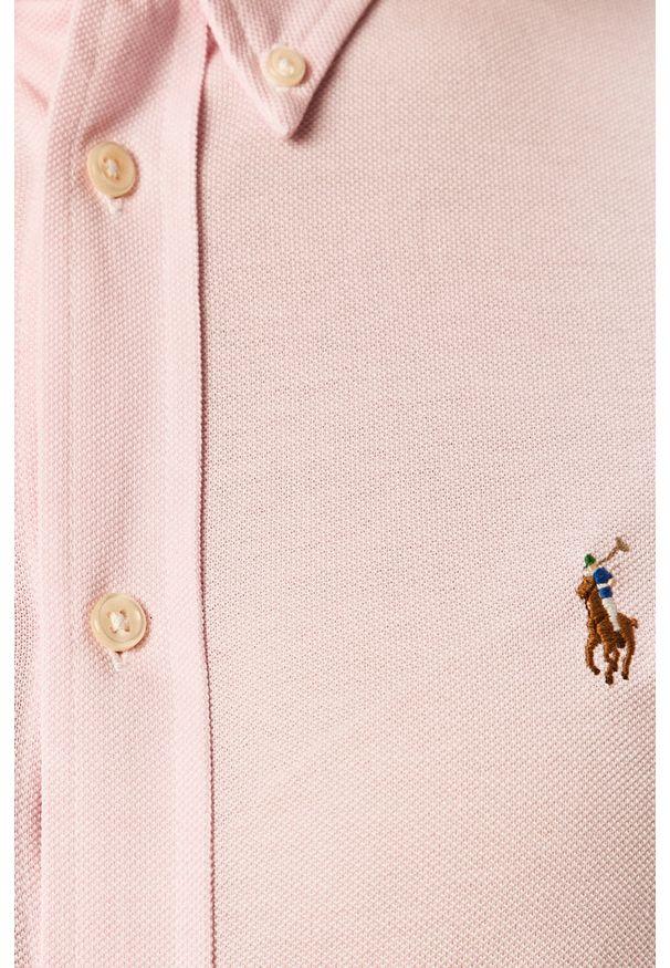 Różowa koszula Polo Ralph Lauren na co dzień, długa, polo, casualowa
