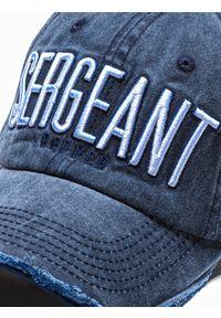 Ombre Clothing - Czapka męska z daszkiem H083 - granatowa - uniwersalny. Kolor: niebieski. Materiał: bawełna