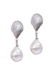 Braccatta - MARINA kolczyki srebrne wiszące duże białe perły barokowe sztyft. Materiał: srebrne. Kolor: srebrny, biały, wielokolorowy. Wzór: aplikacja. Kamień szlachetny: perła