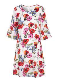 Cellbes Sukienka w kwiaty z rękawami z falbanką w kwiaty female ze wzorem 50/52. Typ kołnierza: dekolt w serek. Materiał: tkanina, jersey. Wzór: kwiaty