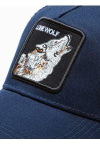 Ombre Clothing - Czapka męska z daszkiem H084 - granatowa - uniwersalny. Kolor: niebieski. Materiał: poliester