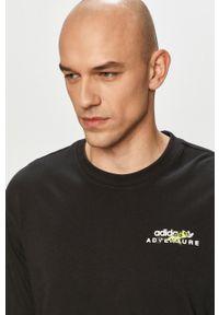 Czarna koszulka z długim rękawem adidas Originals na co dzień, casualowa, z nadrukiem