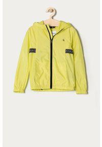 Żółta kurtka Calvin Klein Jeans casualowa, z kapturem