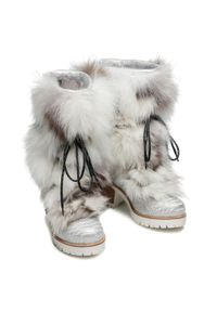 Srebrne kozaki New Italia Shoes z cholewką, na średnim obcasie, na obcasie