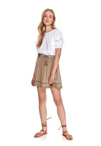TOP SECRET - Spódnica mini z wiązaniem. Kolor: brązowy. Materiał: tkanina, koronka. Sezon: lato. Styl: wakacyjny