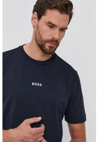 BOSS - Boss - T-shirt. Kolor: niebieski. Materiał: dzianina. Wzór: gładki