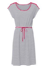 Sukienka z dżerseju w paski bonprix czarno-biało-różowy hibiskus w paski. Kolor: czarny. Materiał: jersey. Wzór: paski