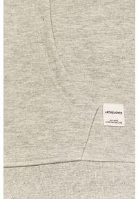 Szara bluza rozpinana Jack & Jones na co dzień, z kapturem, casualowa