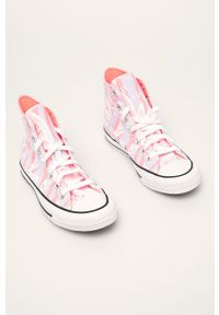 Różowe tenisówki Converse z cholewką, na sznurówki