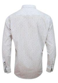 Biała elegancka koszula Rigon z długim rękawem, z klasycznym kołnierzykiem, do pracy, długa