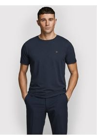 Jack&Jones PREMIUM T-Shirt Blahardy 12166527 Granatowy Slim Fit. Kolor: niebieski