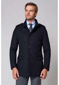 Niebieska kurtka Lancerto na zimę, w kolorowe wzory, ze stójką, elegancka