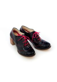 Zapato - sznurowane półbuty na 6 cm słupku - skóra naturalna - model 251 - kolor czerwony naplak. Kolor: czerwony. Materiał: skóra. Obcas: na słupku