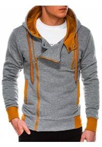 Ombre Clothing - Bluza męska rozpinana z kapturem B297 - szara/ruda - XXL. Typ kołnierza: kaptur. Kolor: brązowy. Materiał: bawełna, dzianina, poliester