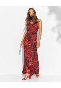 LUXE FASHION - Jedwabna maxi sukienka w panterę. Kolor: czarny. Materiał: jedwab. Długość rękawa: na ramiączkach. Wzór: motyw zwierzęcy. Długość: maxi