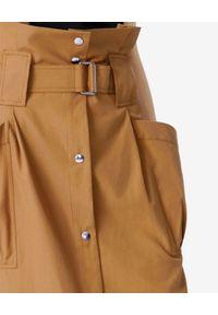 Kenzo - KENZO - Camelowa spódnica z wysokim stanem. Stan: podwyższony. Kolor: beżowy. Wzór: aplikacja