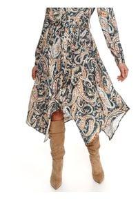 TOP SECRET - Printowana sukienka z wiskozy. Okazja: do pracy, na imprezę. Kolor: niebieski. Materiał: wiskoza. Długość rękawa: długi rękaw. Wzór: nadruk, aplikacja. Sezon: zima. Styl: elegancki #5