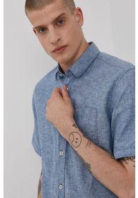 Tom Tailor - Koszula. Typ kołnierza: kołnierzyk klasyczny. Kolor: niebieski. Materiał: tkanina. Długość rękawa: krótki rękaw. Długość: krótkie. Wzór: gładki. Styl: klasyczny