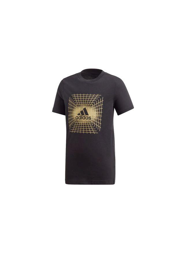 Czarny t-shirt Adidas w kolorowe wzory
